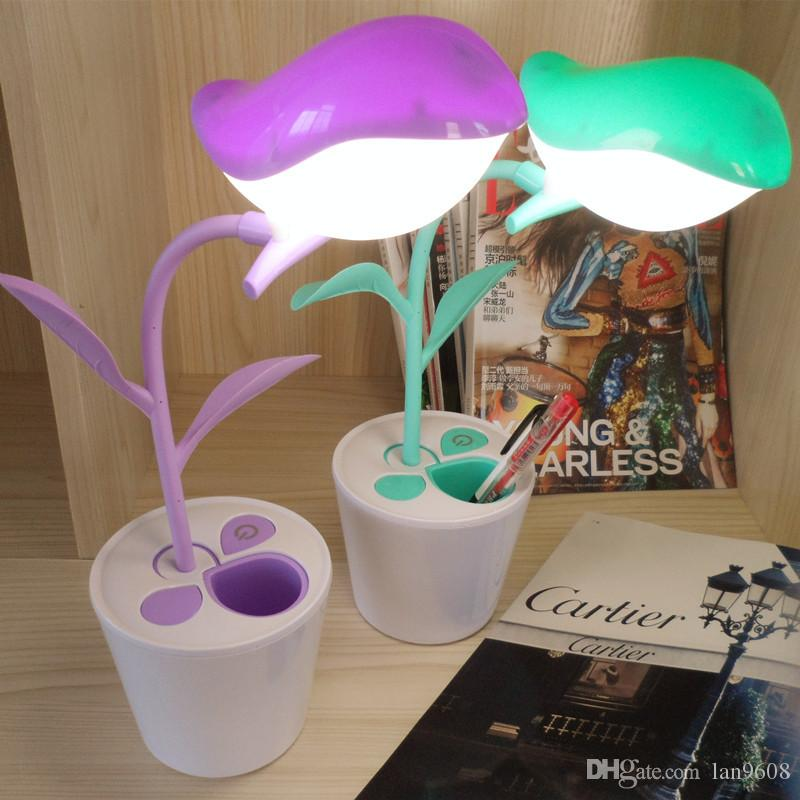 Table Lamp Bird Flower Pot Fairy Tale Pen Holder USB Charging LED Eye Protection Touch Three-stage Dimming Can Act as Stationery Function
