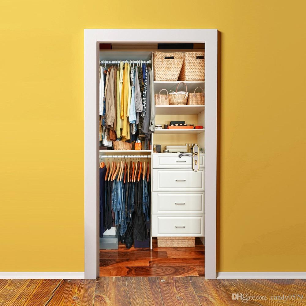 The Wardrobe Door Stickers 3d Pvc Self Adhesive Wallpaper Waterproof ...
