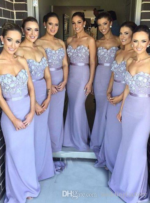 Eleganter Lavendel Nach Maß Brautjungfernkleider Lange Brautjungfernkleider Liebsten Trägerlosen Perlen Blumen Applizierte Hochzeit Party Kleider