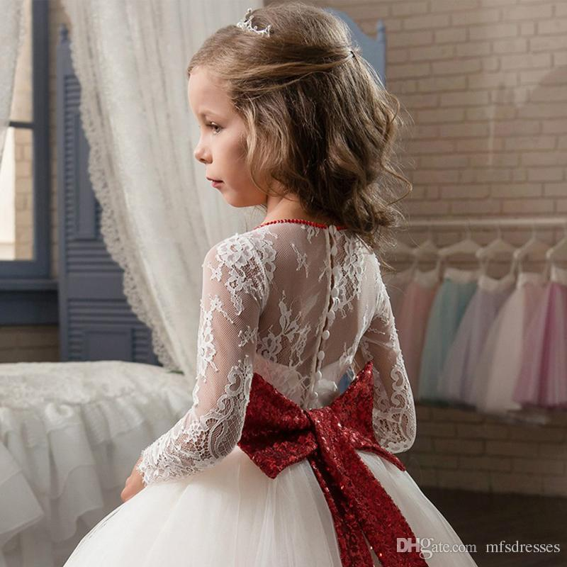 Princess Flower Girl Dresses 2017 New White Dress with Red Sequins First Communion Dress For Girls Birthday Gowns Kids Prom Evening Dresses