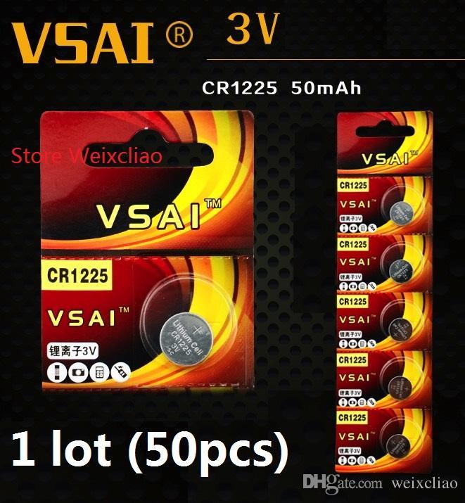50 stücke 1 los CR1225 3 V lithium li ionen-knopfzelle CR 1225 3 Volt li-ion münze batterien VSAI Kostenloser Versand