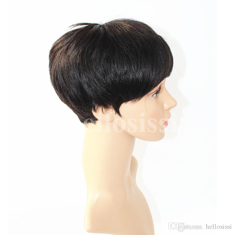 Lace front Straight Human hair wigs Cheap Pixie Cut short with baby hair african hair cut style brazilian Ladies wig for black women