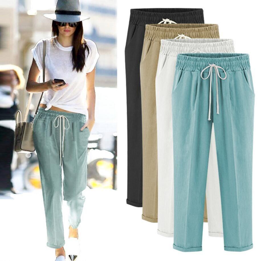 Woman Clothing Loose Pants Black Elastic Waistline Ankle Length ... 9e2a9e275e26