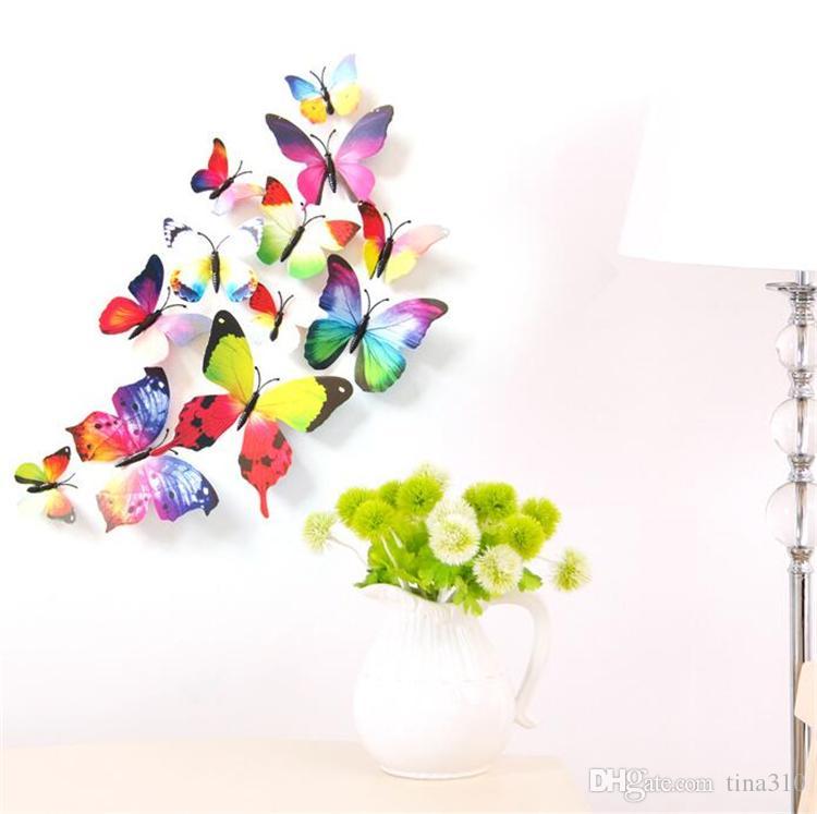 New Beautiful butterfly Frigorifero stick adesivi 3d 3d farfalle pvc stickers murali smontabili butterflys Decorazioni matrimoni I038