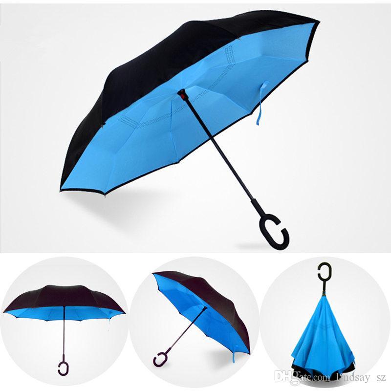 2017 Creativo Paraguas Invertidos de Doble Capa Con C Manejar de Dentro Hacia Fuera Reversa Paraguas A Prueba de Viento envío rápido