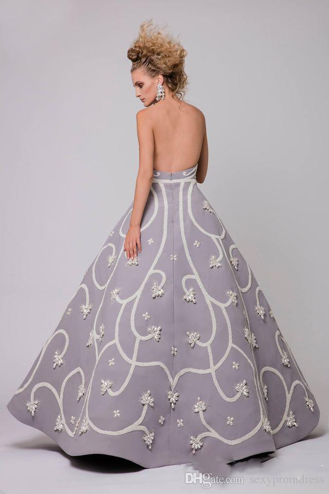 Elegant Pearls Beading Arabic Evening Dresses Gray Strapless Sexy Backless Satin Prom Dresses Floor Length Formal Party Gowns Customized