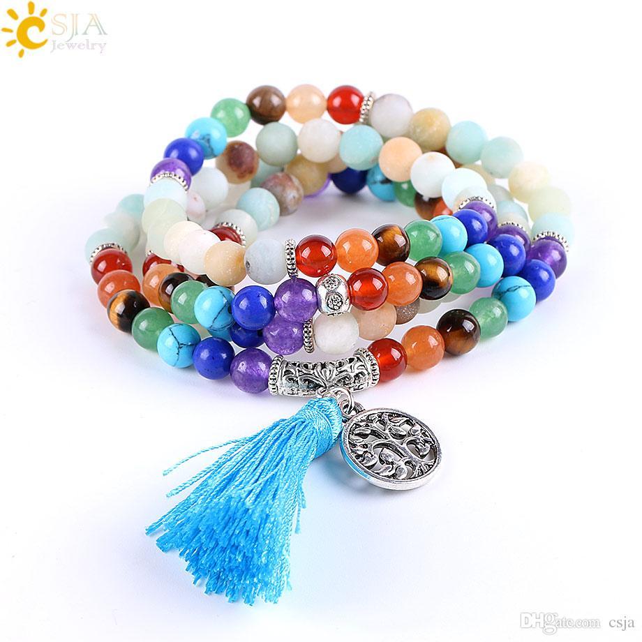 CSJA 108 Mala 7 Chakra Natural Amazonite Stone Bracelets 925 Silver Charms Prayer Mala Bead Meditation Reiki Healing Balance Jewelry E661