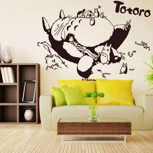 Home Decor Stickers Japanese Cartoon Totoro Wall Stickers Decal Wall ...