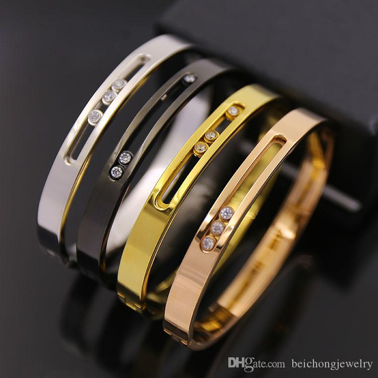 Beichong High Quality Fashion Jewelry Luxury Gold Color Crytal Stainless Steel Three Move Zircon Bangles Bracelets For Women