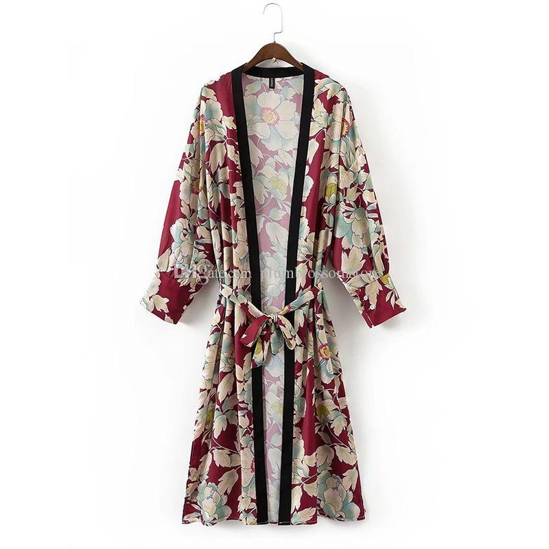 Vintage Blume gedruckt mit Schärpen lange Kimono Blusen Shirt Damenmode Bandage Cardigan Patchwork lässig Herbst Bluse Femme Blusa