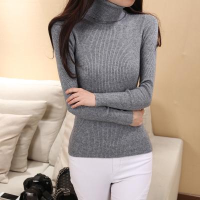 Wholesale Womens High Collar Shirt Collar Tight Sweaters Wool