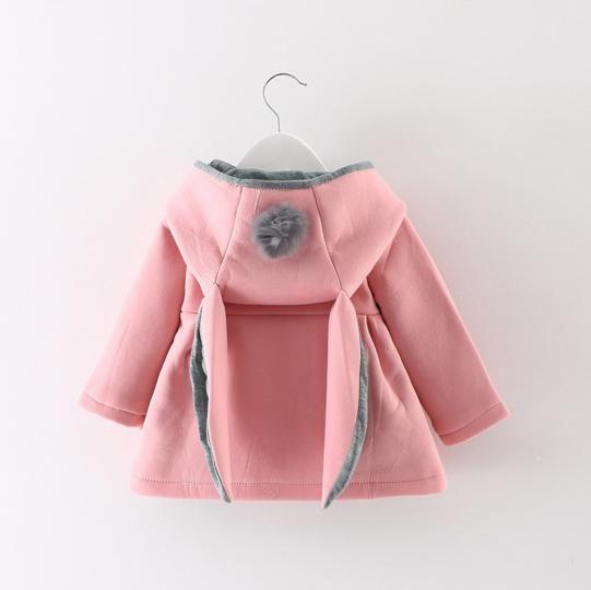 Baby Girls 2 Pom Pom Rabbit Hood Coats 2017 Autumn Winter Hot Sale ...