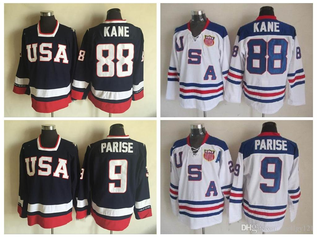 Cheap 2010 Olympic Team USA Hockey Jerseys 88 Patrick Kane 9 Zach Parise  White Navy Blue USA Stitched Ice Hockey Jersey Canada 2019 From Coollgy121 c6366e4a1