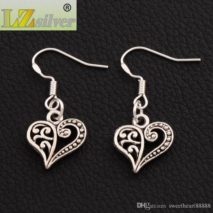 Demi Boucles d'oreilles coeur fleur 925 argent poisson oreille crochet es / tibétain argent lustre E919 13.2x31.5mm