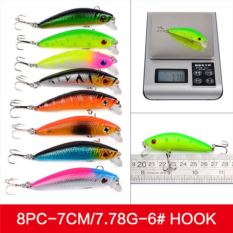 Mixed 8 styles ABS Plastic Freshwater Fishing Lures Set Minnow Lure Crankbaits Pencil and Rattlin Baits hooks