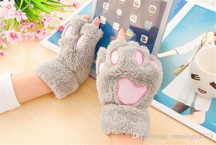 Donna Inverno Fluffy Bear / Cat Plush Paw / Claw Glove-Novità morbida spugna da donna mezza coperta senza dita ama il regalo di Natale R050