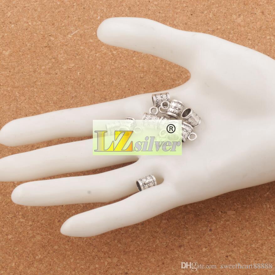 زهرة بكفالة المعادن فضفاض الخرز مع الحلقات / 8X10mm الفضة التبتية لسوار سحر الأوروبي