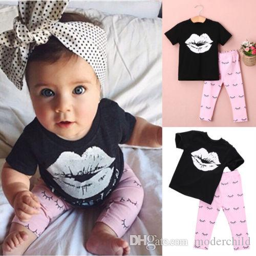 Baby Girl Spring Autumn Casual Outfits Infant Toddler Girls Lipstick Soft Cotton Top T shirt + Pants Baby Suits