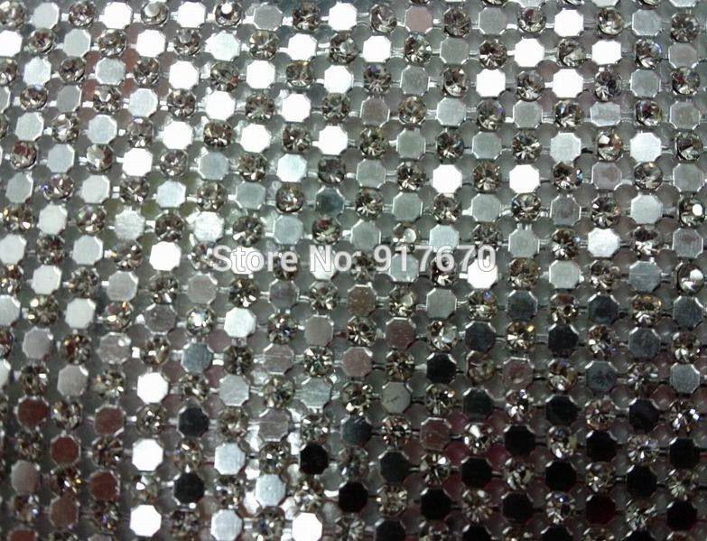 115x42cm sheet Clear Crystal Rhinestone Mesh Trim HOTFIX Aluminum ... cacade5ed1bf