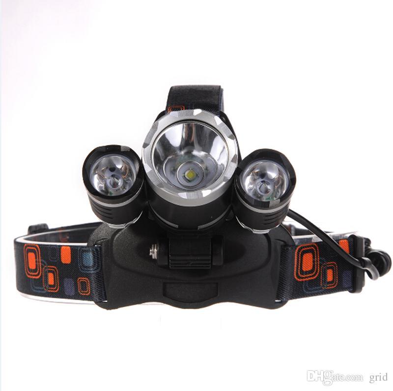 Venta caliente al aire libre 5000LM 3 x XM-L L2 LED Faros delanteros Senderismo CAMPAMENTO DE PESCA Linterna Antorcha Lámpara USB Envío Gratis
