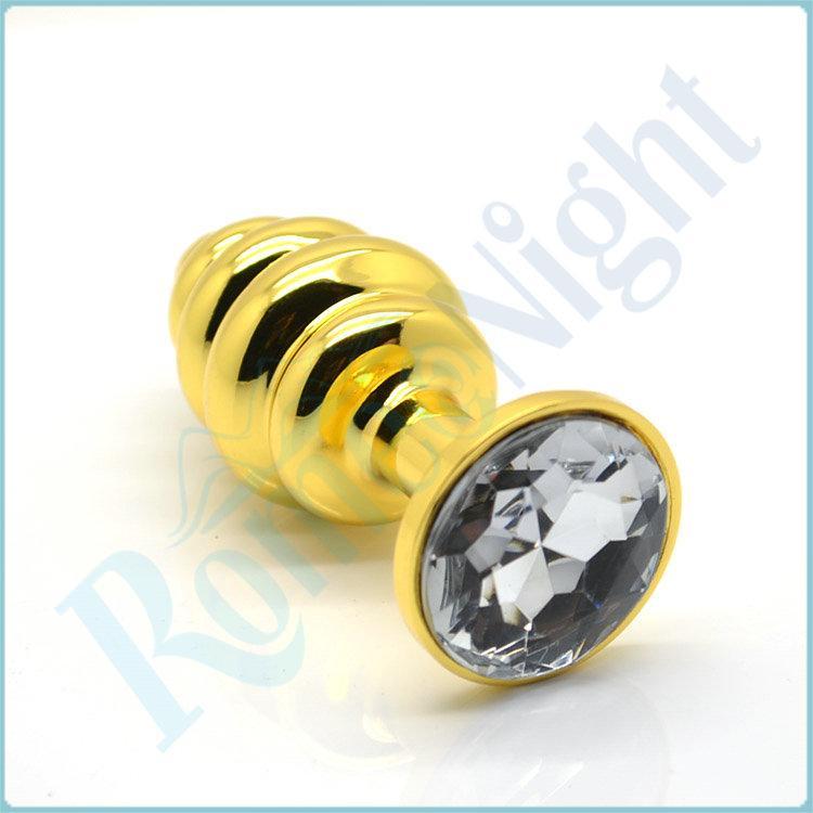 RomeoNight Luxo Dourado Com Rosca De Metal Butt Plug Inserção Anal Rolha Sexy, Sexo Anal Brinquedos Audlt Produtos q1106