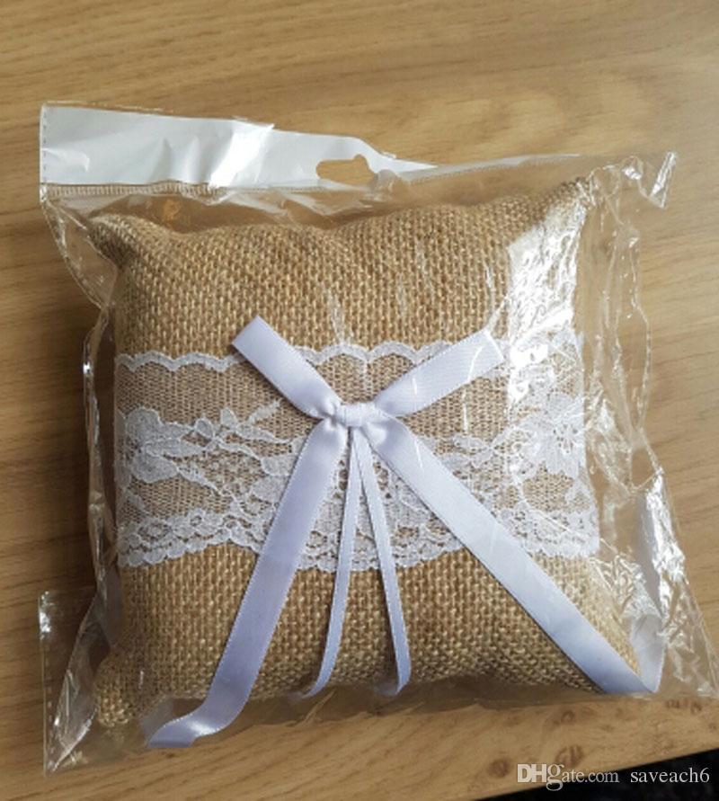 2019 15 15cm Burlap Linen Rustic Wedding Ring Pillow Cushion Ring