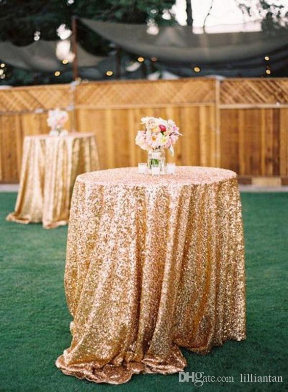 Blingbling Or Paillettes Rondes Table Carree Nappe De Jardin Decorations De Mariage Noel Argent Champagne Tissu Paillettes Tissu A Paillettes