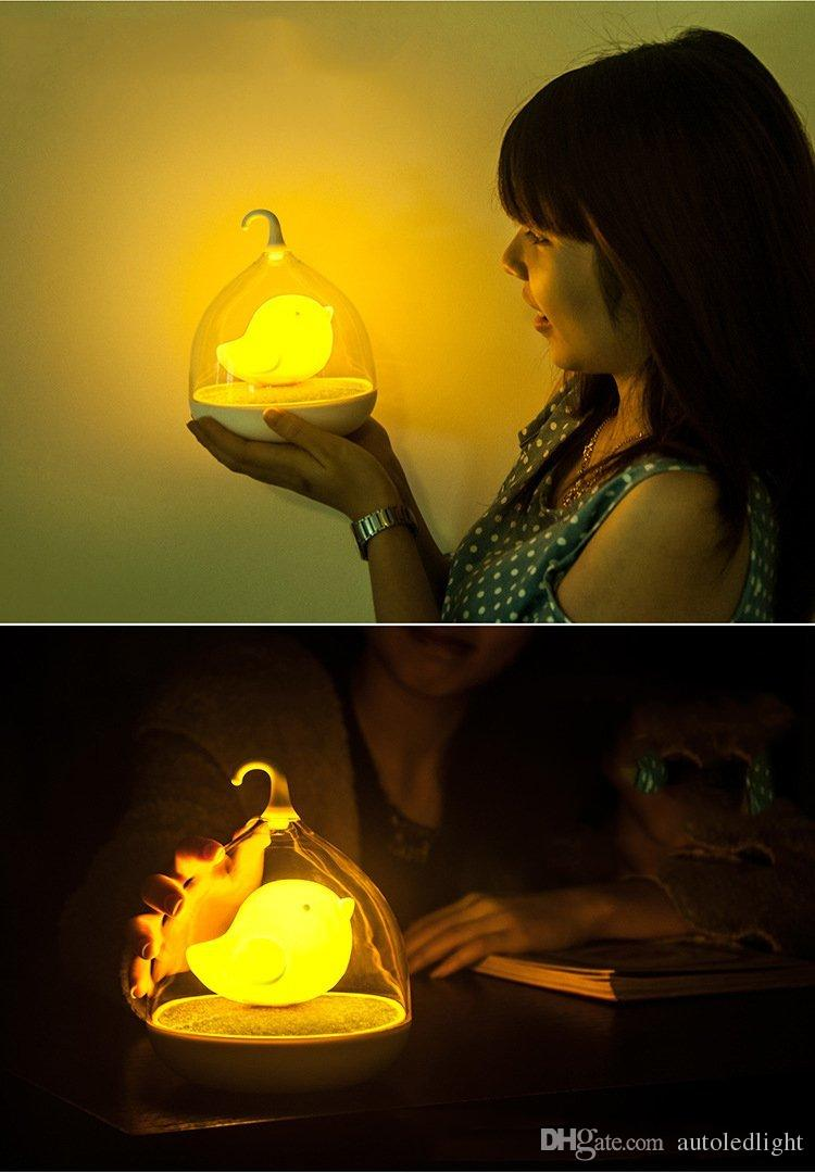 Hand-held Design Rechargeable Touch Sensor Vibration led Birdcage Lamp LED Bird Night Lights for Kids Touch Dimmer Bedroom Lights
