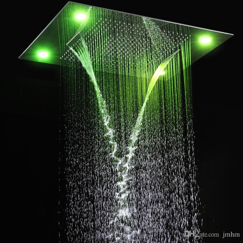 rain shower head with lights. 600 800mm Modern LED Shower Head Ceiling Recessed Dual Rain Waterfall  Overhead Bath Bathroom High Quality Prodcts