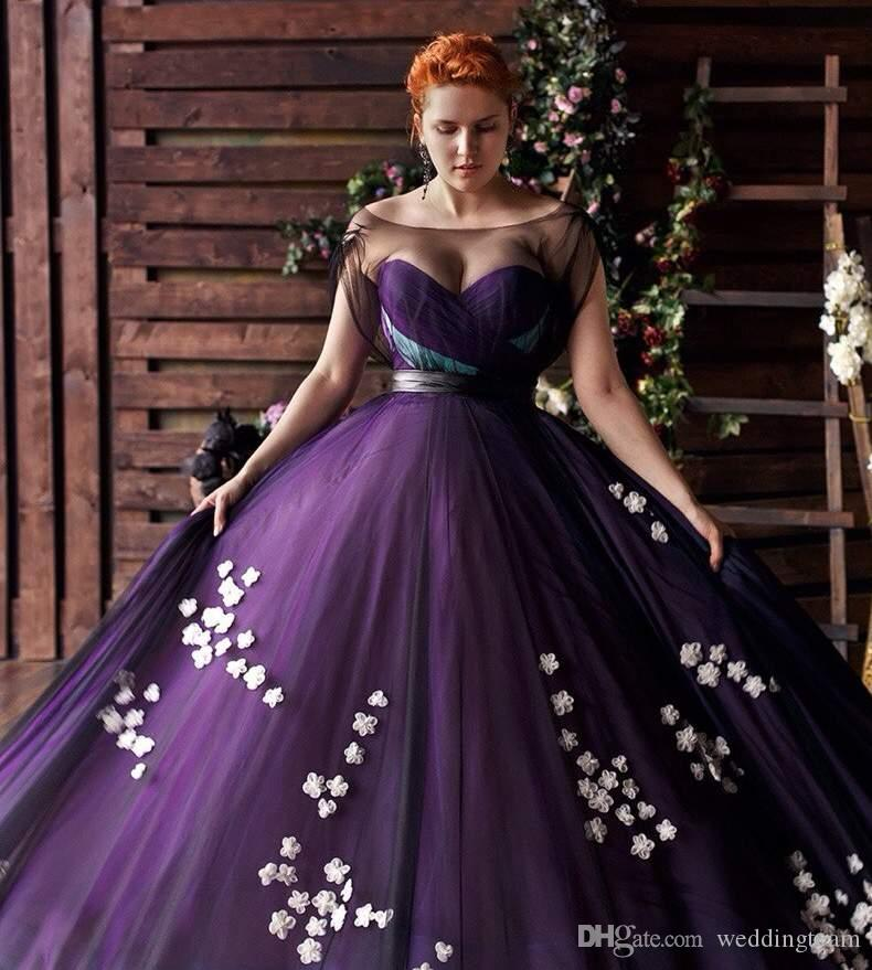 Stylish Purple Plus Size Prom Dresses Floral Applique Sheer Bateau