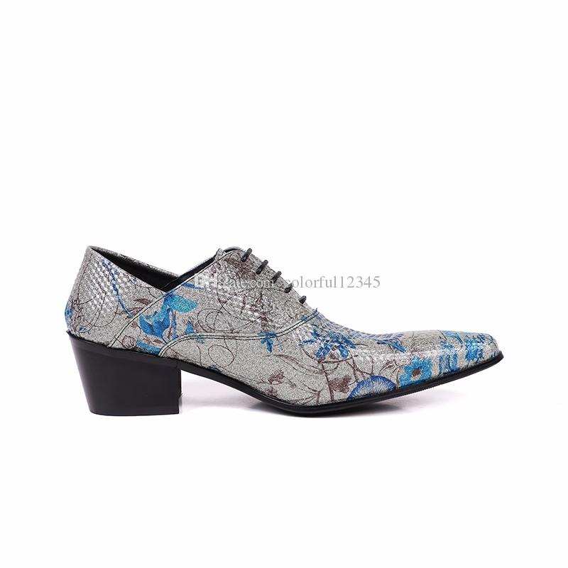 Men Dress Shoes Fashion Flower Printed Lace Up Wedding and Party High Heels Shoes Christmas Gifts for Men