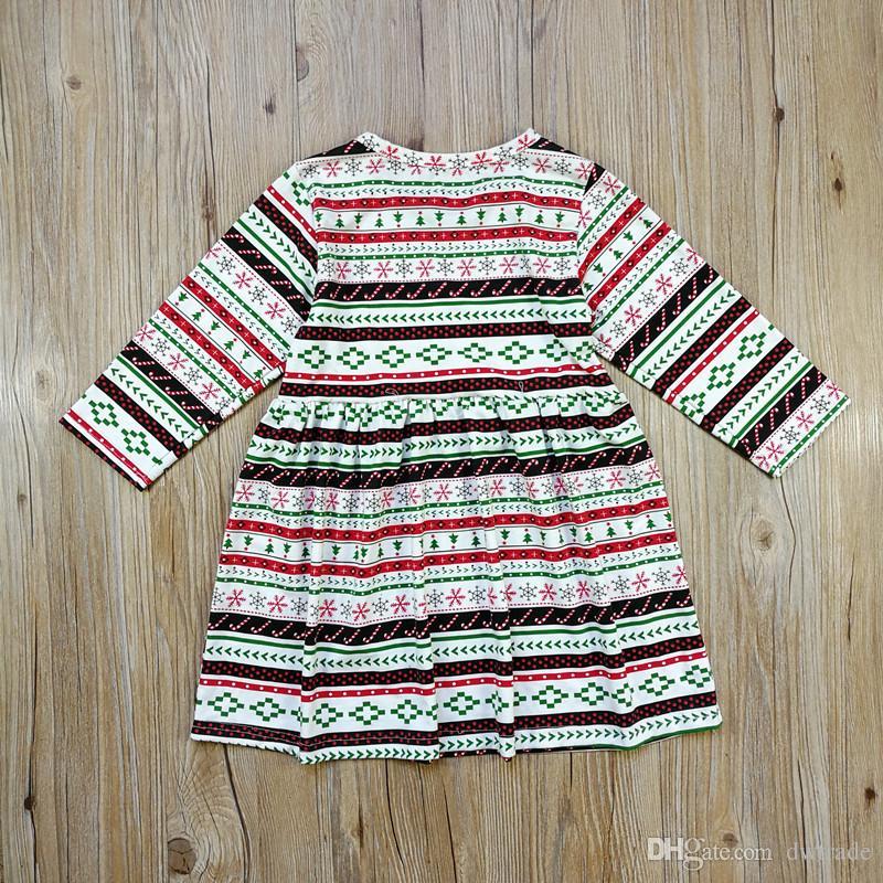 Weihnachten Weihnachten Mädchen Streifen Dot Santa Lace Pyjamas Neue Baumwolle Cartoon Schneemann Baum Kitz Langarm-Kleid Anzug