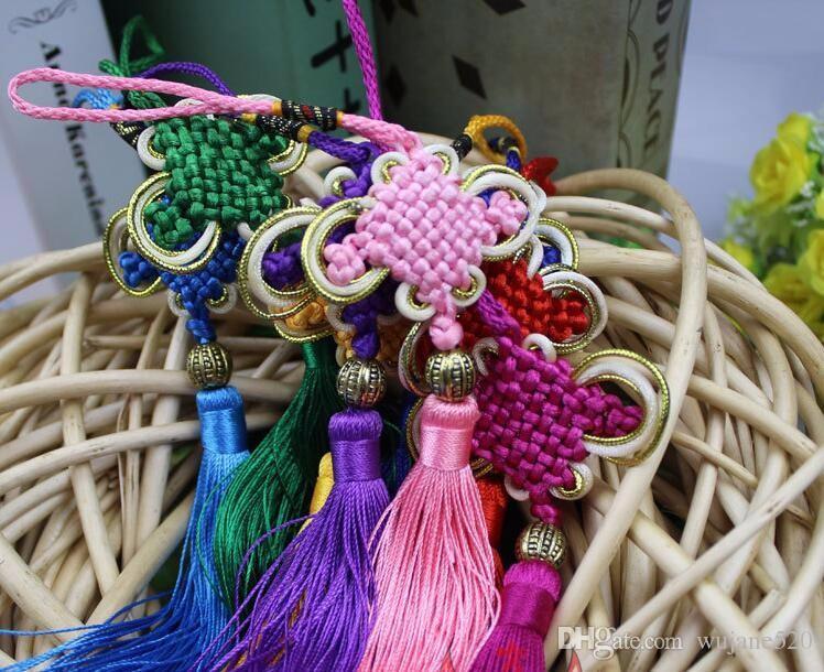 Multi-color auspicioso nudo chino borla de alto grado llavero correas de teléfono bolso del coche colgante decoración de la joyería 26 cm bricolaje accesorio