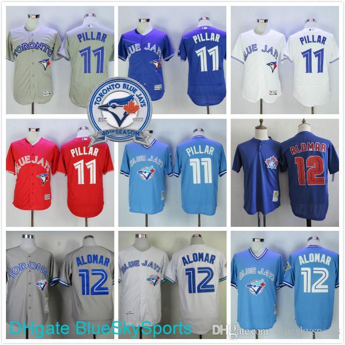 dd552f138 ... 2017 Kevin Pillar Jersey 11 Toronto Blue Jays Roberto Alomar Jerseys  White Blue Gray Throwback Cool ...
