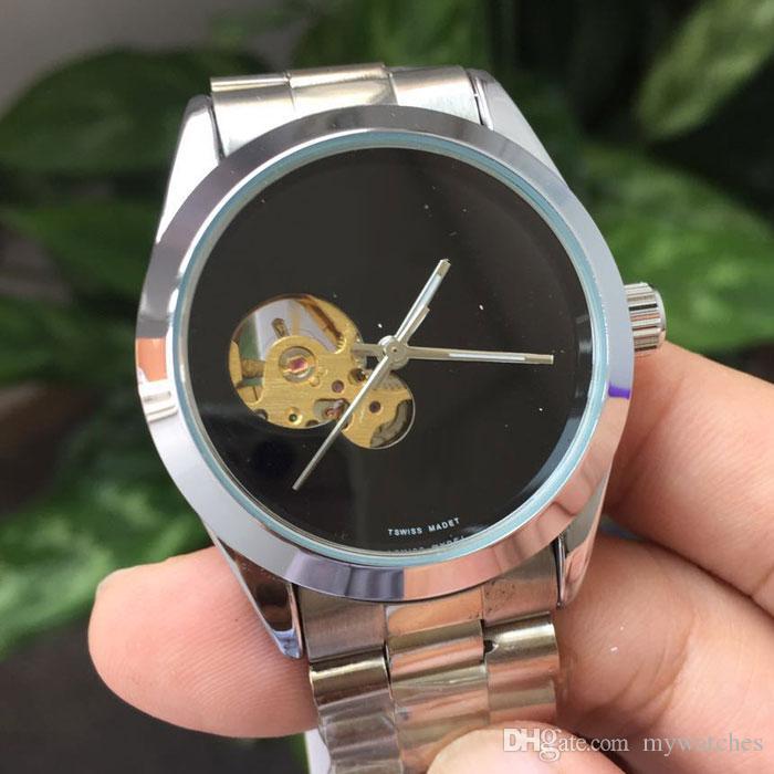 Unisex Homens Mulheres Relógios de moda Negócios Assista completa de aço inoxidável banda Skeleton Dial mecânico automático relógio de pulso para homens senhoras