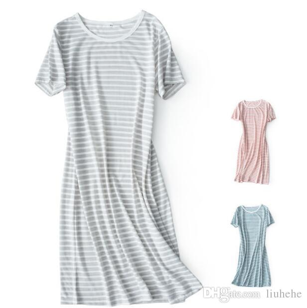 Knitted Striped Short Sleeve Sleeping Skirt Cotton Home Skirt Dresses Female Mid Summer 10075
