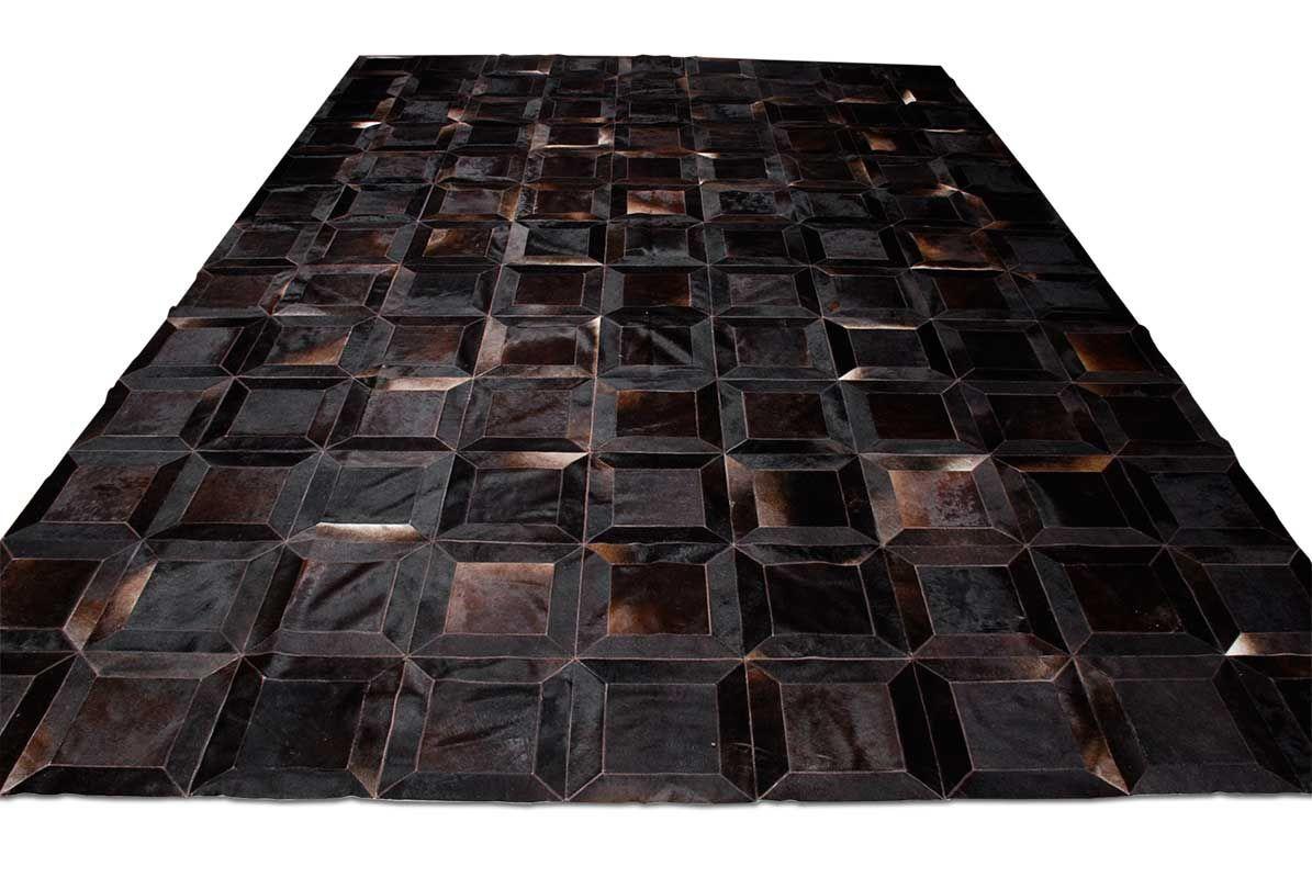 Dark Brown Black Squares Patchwork Natural Cowhide Area Rug Carpet