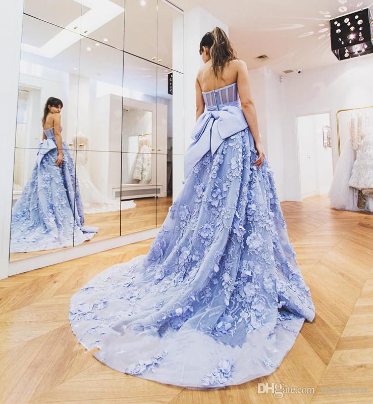 2017 Zuhair Murad 3D Floral Appliqued Prom Dresses Backless Sweetheart Lace Evening Gowns Light Purple Formal Party Dress
