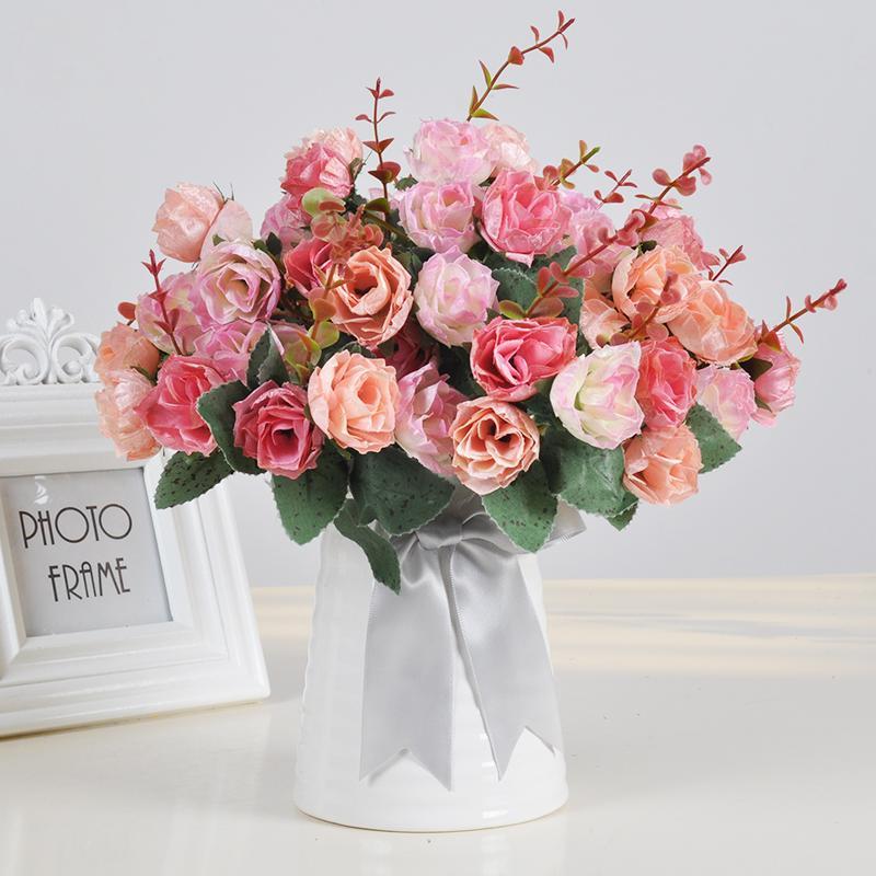 Compre 1 Conjunto De Flores Artificiales De Rosas Clavel Girasol