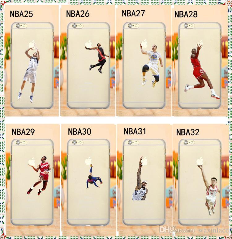 Funda superestrella de fútbol para iphone 5s 6 7 6s plus 7 plus Funda de plástico duro transparente para Coque Basketball Star para Apple Iphone