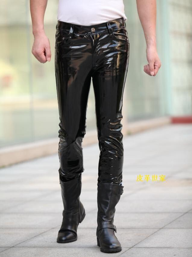 fdf716f42f 2019 Wholesale Famous Brand Fashion Men Leather Pants Luxury Designer Man  Sexy Pant Long Skinny Leather Shiny Patent Leather Party Bar Costumes From  ...