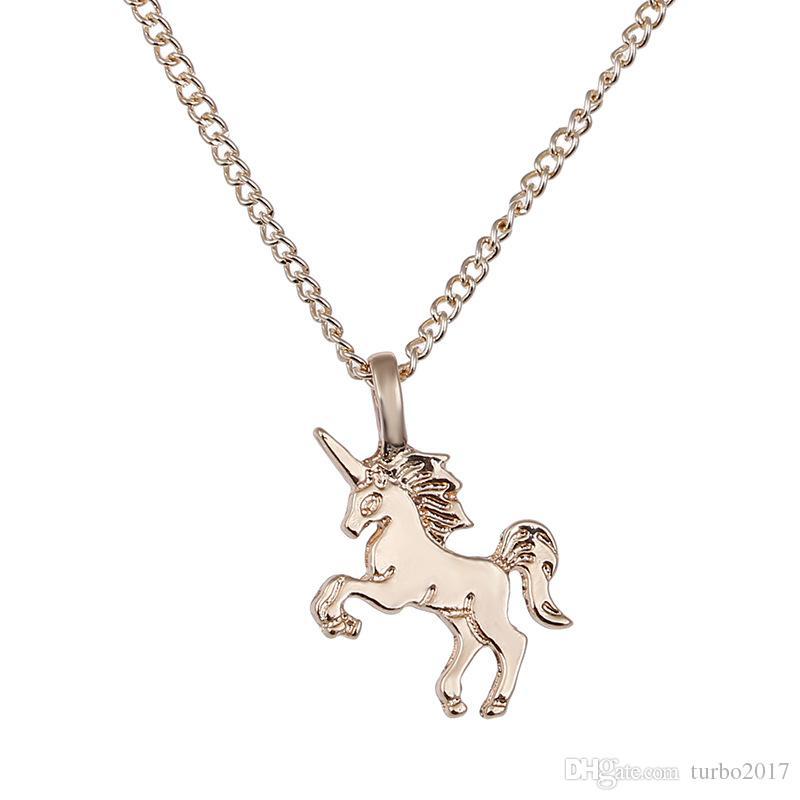 Hayvan Kolye Kolye ile Kart Altın / Gümüş Kaplama Unicorn Kolye ile 20 Inç Zincir Moda Neckalce Takı