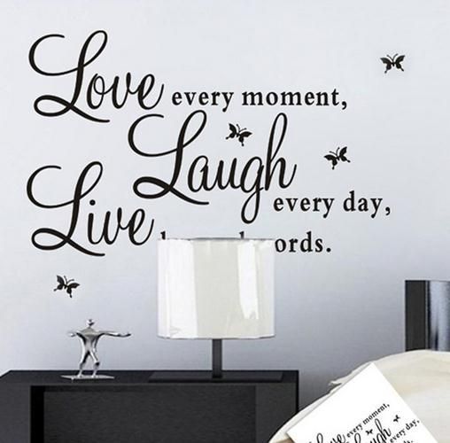 Fashion Live Laugh Love Wall Quote Stickers 4 Butterflies Vinyl Decal Home  Art Wall Stickers Stickers To Decorate Walls Stickers Wall From Dawn2015,  ... Part 61