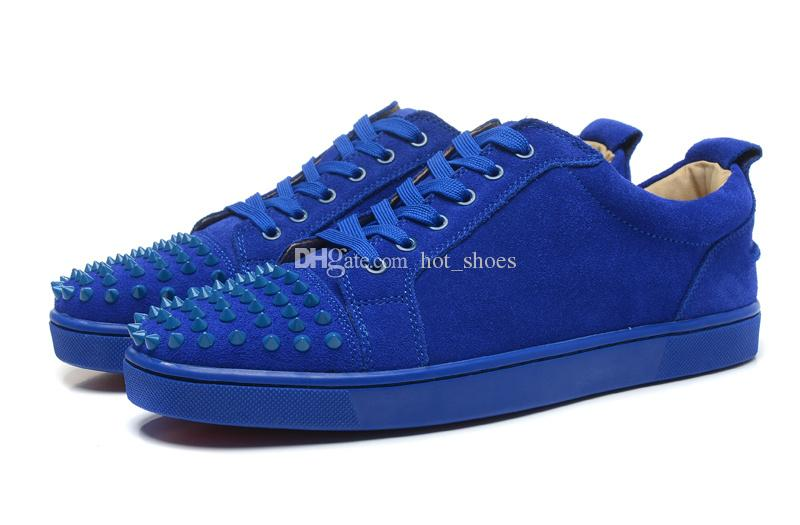 Low Top Blue Suede Leather Studded Spikes Toe Casual Flats Red