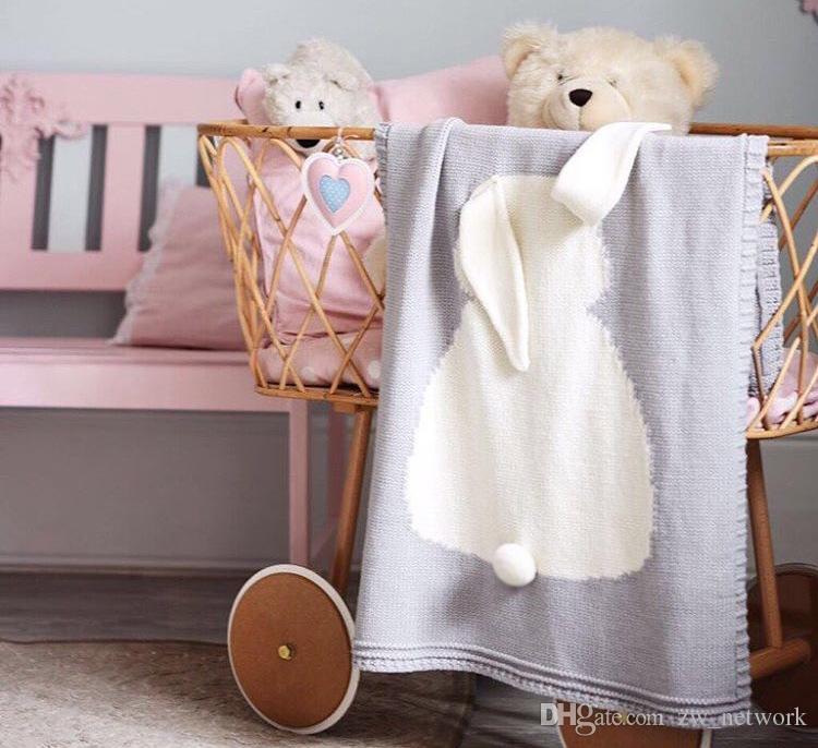 New Arrivals Baby Blankets Plaid Rabbit Ears Kids Cotton Thread Knitted Blanket Throw Bedding Sofa/Air Mantas 100*130cm
