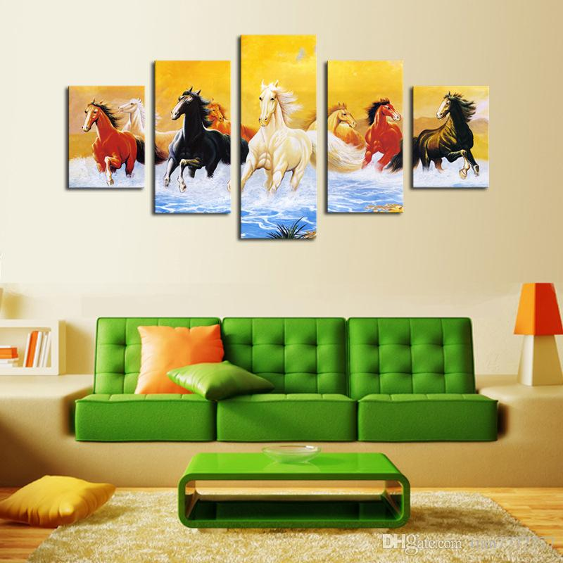 2019 Unframed 5 Panel Running Horse Oil Painting Fashion Home Decorative Canvas Print Picture Living Room Wall Poster Unique Gift From Tian7777777