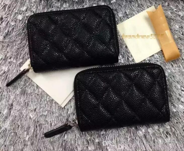 69271 Free shipping Black Lambskin Caviar Leather zipper Card ID Holder caviar leather wallet black color