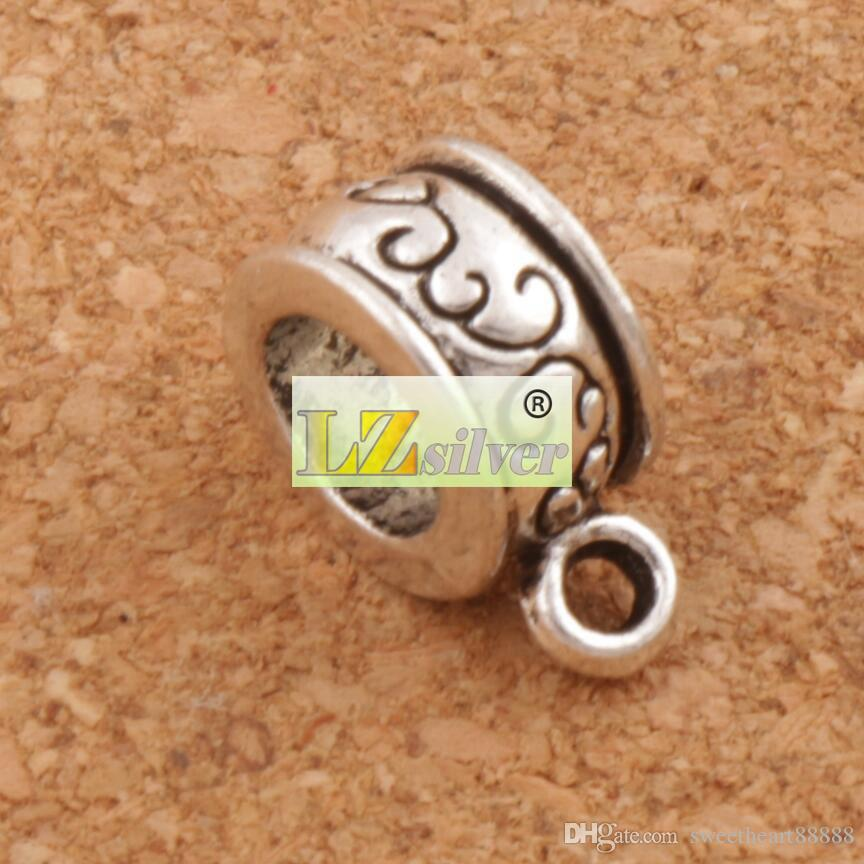 Flower Round Connectors Pendant Bails Big Hole Beads Antique Silver Fit Charm European Bracelet L736 12.9x6mm