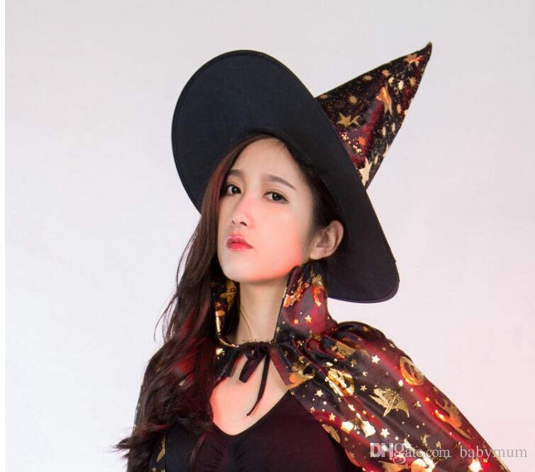 Хэллоуин ведьмы кепка Партия Косплей Опора для Фестиваля Необычные Платья Детские Костюмы Witch Wizard Платье Шляпы Костюм дети шляпа