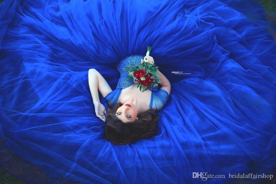 الأزرق الملكي الكرة بثوب قبالة الكتف الطابق طول حبيبته العنق خط مساء اللباس العودة للوطن الحفلة الراقصة